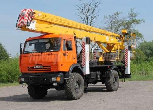 Автовышка на базе КАМАЗ-Вездеход (длина стрелы до 19м., г/п до 300кг)